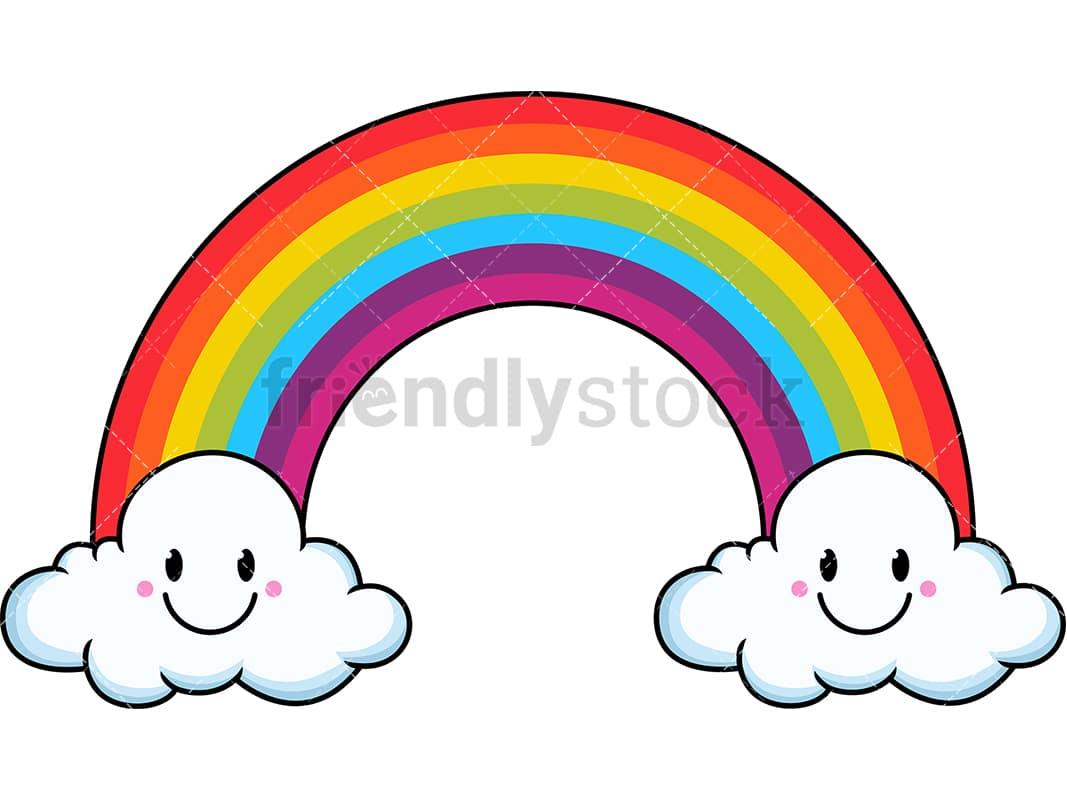 cute kawaii rainbow cartoon vector clipart friendlystock clip art of rainbows on white background clip art of rainbows and unicorns