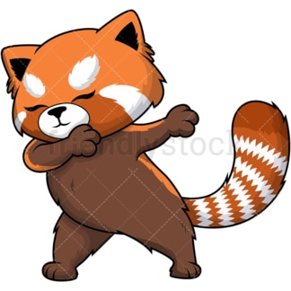Dabbing red panda. PNG - JPG and vector EPS file formats (infinitely scalable). Image isolated on transparent background.