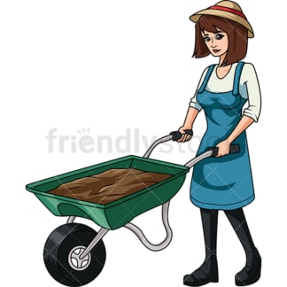 Female farmer with wheelbarrow. PNG - JPG and vector EPS file formats (infinitely scalable). Image isolated on transparent background.
