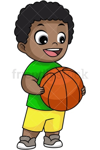 Happy black boy holding basketball. PNG - JPG and vector EPS file formats (infinitely scalable). Image isolated on transparent background.