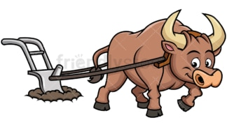 Happy ox plowing field. PNG - JPG and vector EPS file formats (infinitely scalable). Image isolated on transparent background.