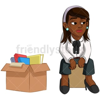 Just fired black woman. PNG - JPG and vector EPS (infinitely scalable). Image isolated on transparent background.