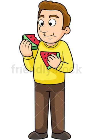 Man enjoying watermelon. PNG - JPG and vector EPS. Image isolated on transparent background.
