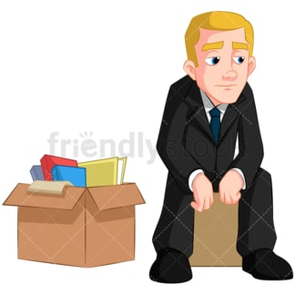 Man worried after losing his job. PNG - JPG and vector EPS (infinitely scalable). Image isolated on transparent background.