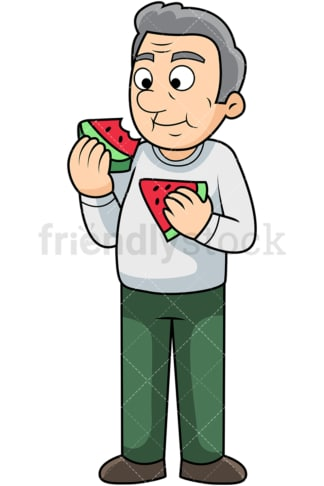 Old man enjoying watermelon. PNG - JPG and vector EPS. Image isolated on transparent background.