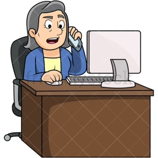 Old woman calling customer service. PNG - JPG and vector EPS file formats (infinitely scalable). Image isolated on transparent background.