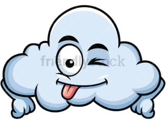 Winking tongue out cloud emoticon. PNG - JPG and vector EPS file formats (infinitely scalable). Image isolated on transparent background.