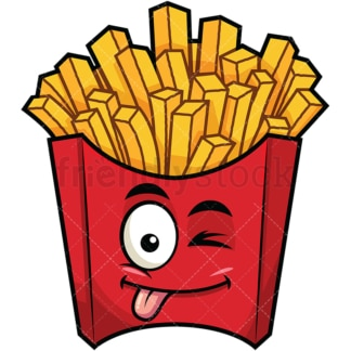 Winking tongue out french fries emoticon. PNG - JPG and vector EPS file formats (infinitely scalable). Image isolated on transparent background.