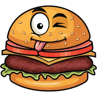 Winking tongue out hamburger emoticon. PNG - JPG and vector EPS file formats (infinitely scalable). Image isolated on transparent background.