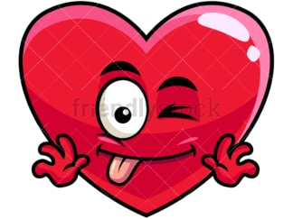 Winking tongue out heart emoticon. PNG - JPG and vector EPS file formats (infinitely scalable). Image isolated on transparent background.