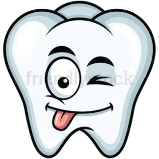 Winking tongue out tooth emoticon. PNG - JPG and vector EPS file formats (infinitely scalable). Image isolated on transparent background.