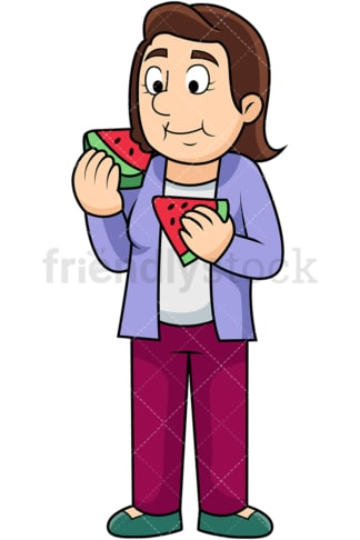 Woman enjoying watermelon. PNG - JPG and vector EPS. Image isolated on transparent background.