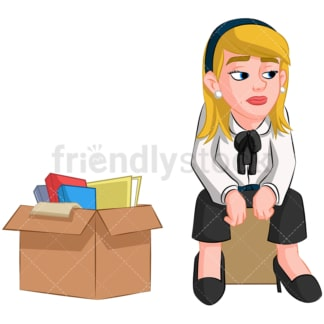 Worried fired woman. PNG - JPG and vector EPS (infinitely scalable). Image isolated on transparent background.