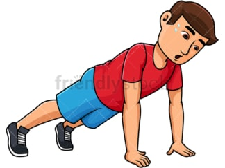Young man doing push ups. PNG - JPG and vector EPS file formats (infinitely scalable). Image isolated on transparent background.