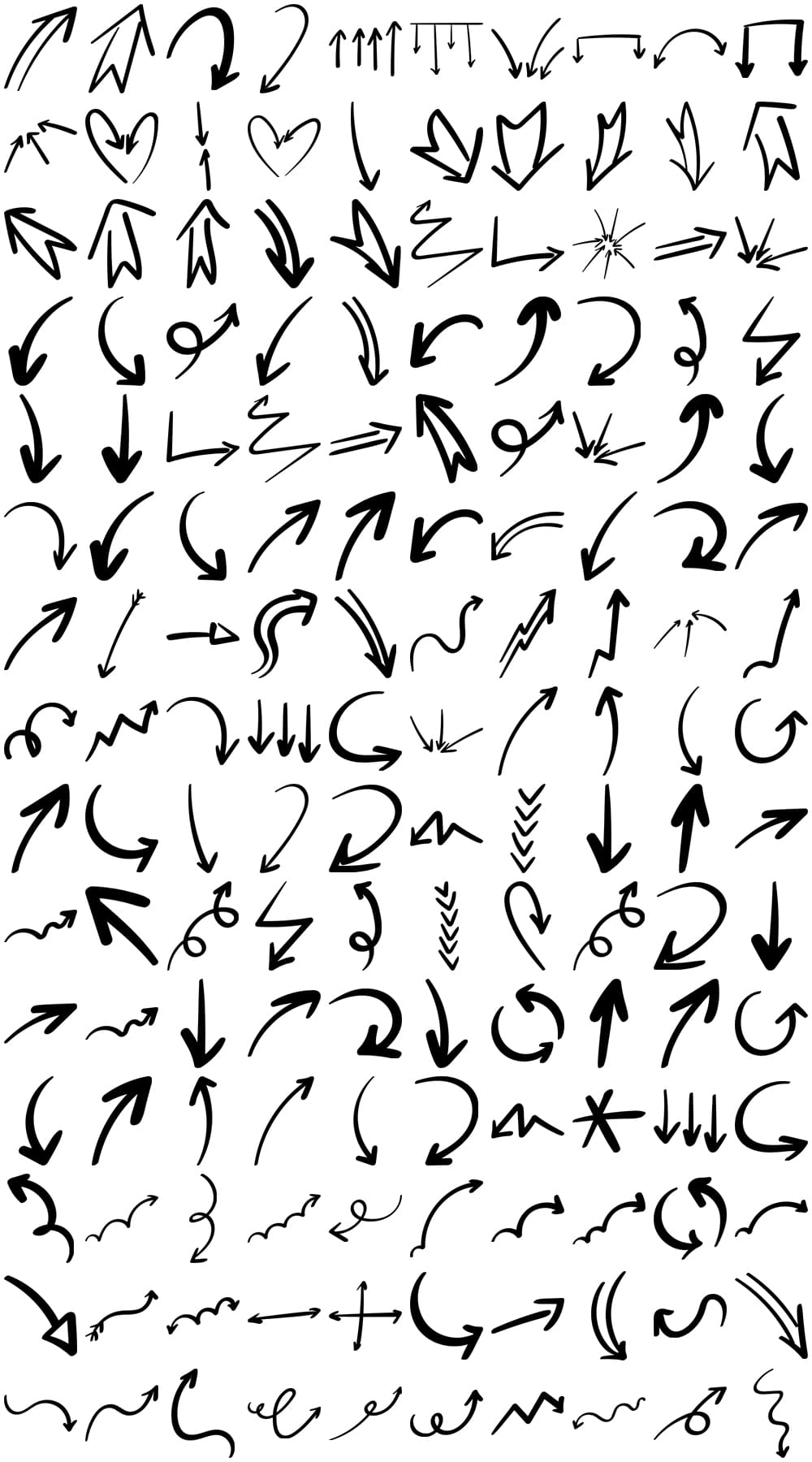 150 Free Hand Drawn Arrows Without Attribution