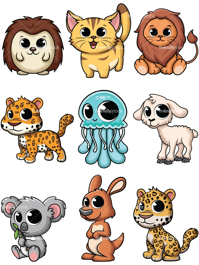 Adorable Baby Animals Cartoon Vector Clipart - FriendlyStock