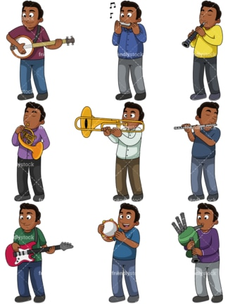 African american man playing musical instruments. PNG - JPG and vector EPS file formats (infinitely scalable). Images isolated on transparent background.