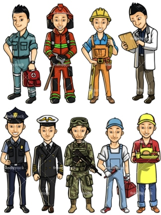 Asian man professions. PNG - JPG and vector EPS file formats (infinitely scalable). Images isolated on transparent background.