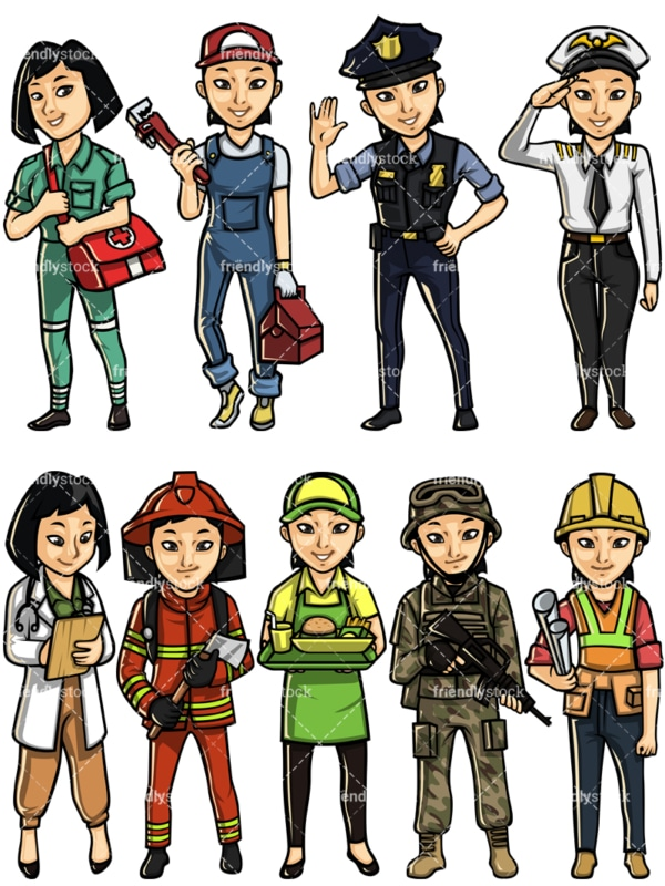 Asian woman professions. PNG - JPG and vector EPS file formats (infinitely scalable). Images isolated on transparent background.