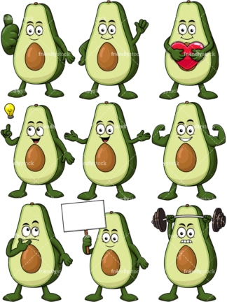 Avocado cartoon character. PNG - JPG and vector EPS file formats (infinitely scalable). Image isolated on transparent background.