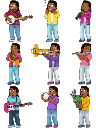 Black girl playing musical instruments. PNG - JPG and vector EPS file formats (infinitely scalable). Images isolated on transparent background.