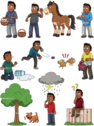 Black guy idiom concepts. PNG - JPG and vector EPS file formats (infinitely scalable). Images isolated on transparent background.