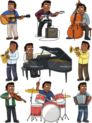 Black guy playing musical instruments. PNG - JPG and vector EPS file formats (infinitely scalable). Images isolated on transparent background.