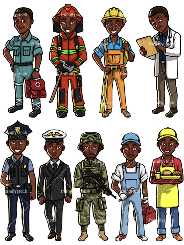Black man professions. PNG - JPG and vector EPS file formats (infinitely scalable). Images isolated on transparent background.