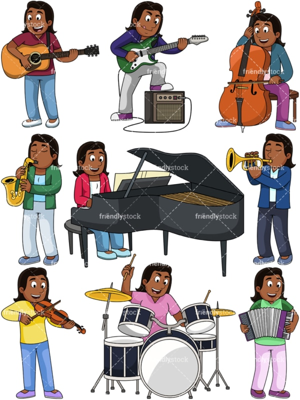 Black woman playing musical instruments. PNG - JPG and vector EPS file formats (infinitely scalable). Images isolated on transparent background.
