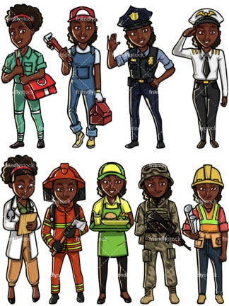 Black woman professions. PNG - JPG and vector EPS file formats (infinitely scalable). Images isolated on transparent background.