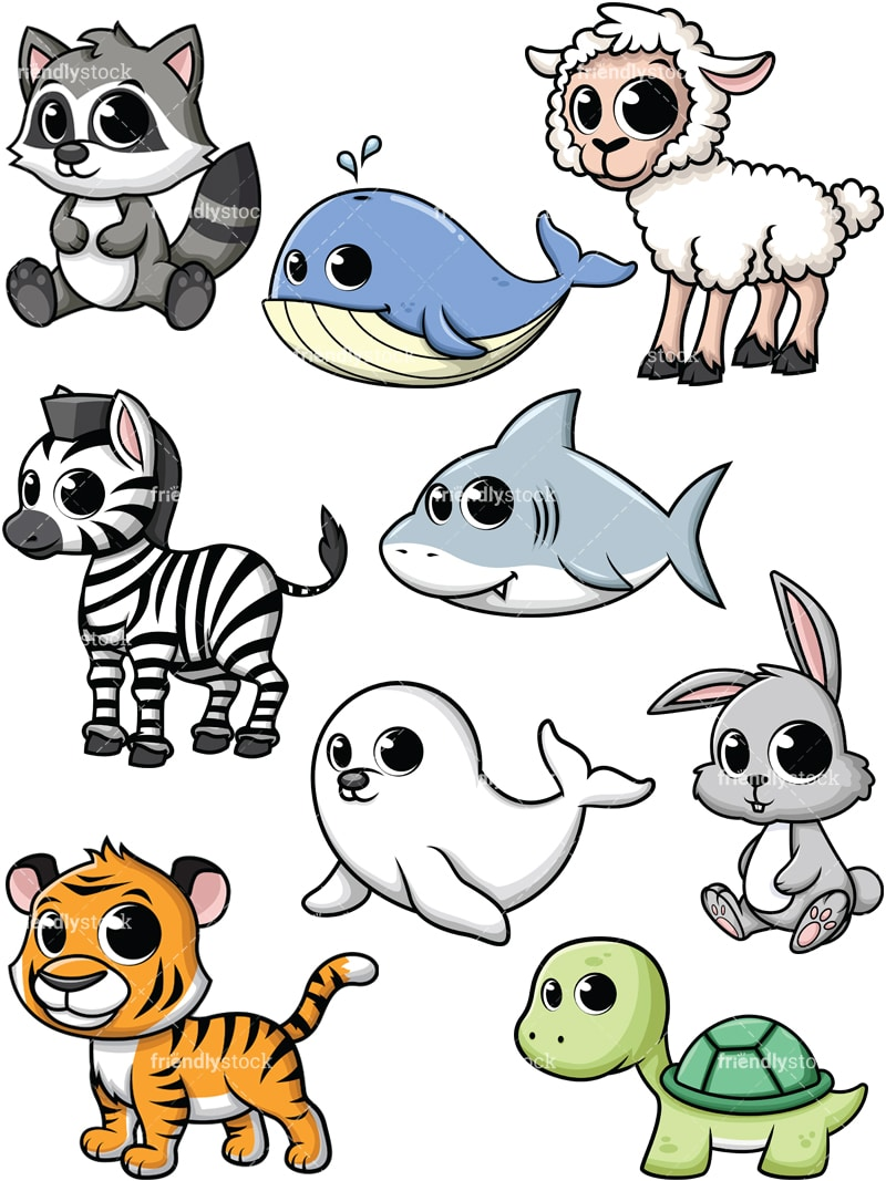 Cartoon Baby Animals Vector Clipart - FriendlyStock