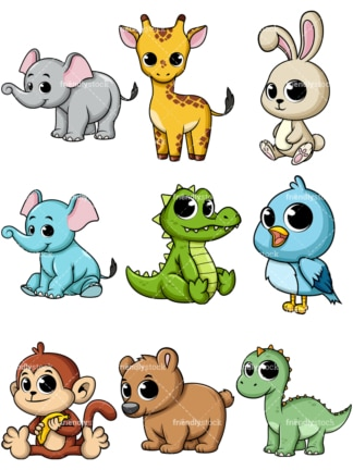 Cute Baby Monkey Cartoon Vector Clipart - FriendlyStock