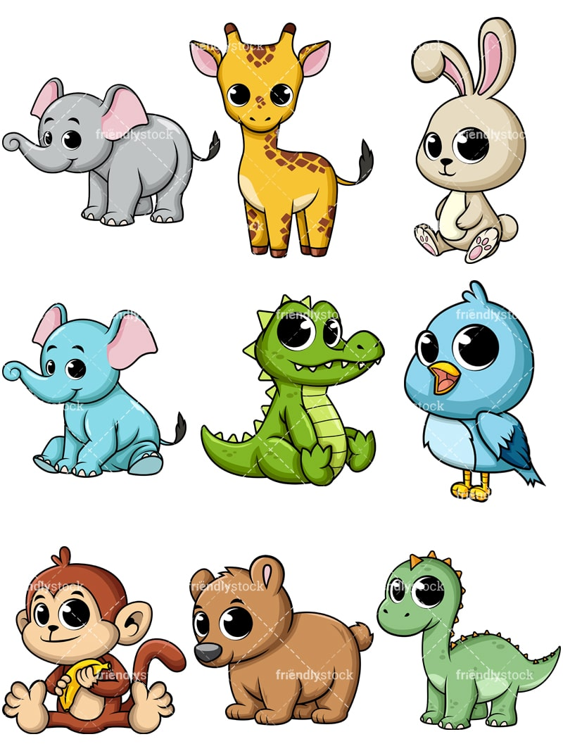 cartoon baby animals vectors friendlystock free elephant clipart outline free elephant clipart baby shower