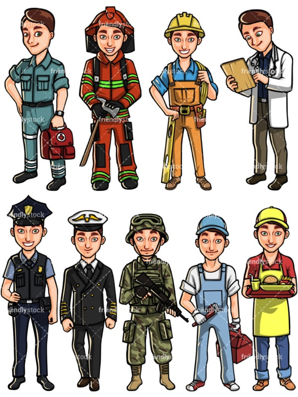 Caucasian man professions. PNG - JPG and vector EPS file formats (infinitely scalable). Images isolated on transparent background.