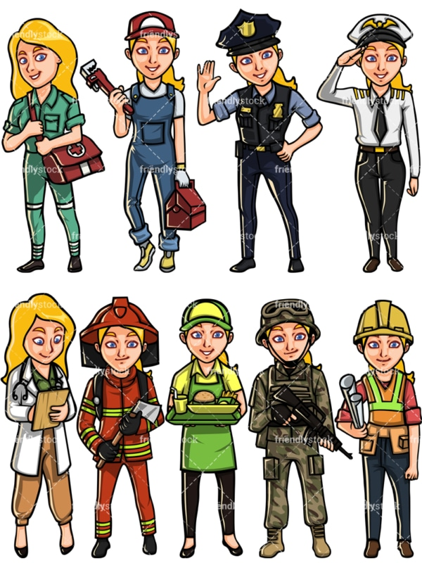 Caucasian woman professions. PNG - JPG and vector EPS file formats (infinitely scalable). Images isolated on transparent background.