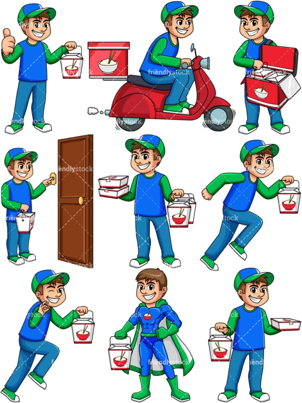 Chinese food delivery boy. PNG - JPG and vector EPS file formats (infinitely scalable). Image isolated on transparent background.