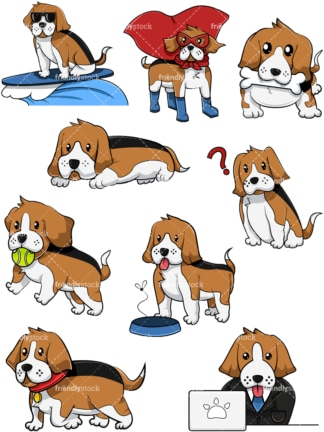 Cool beagle dogs. PNG - JPG and vector EPS file formats (infinitely scalable). Image isolated on transparent background.