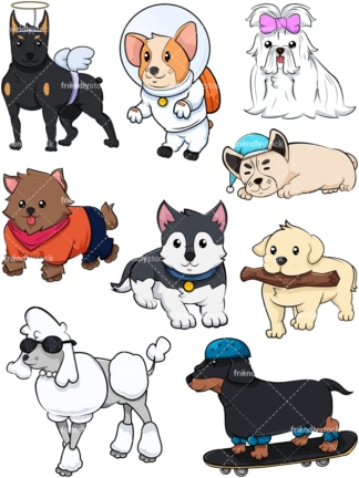 Corky dogs. PNG - JPG and vector EPS file formats (infinitely scalable). Image isolated on transparent background.