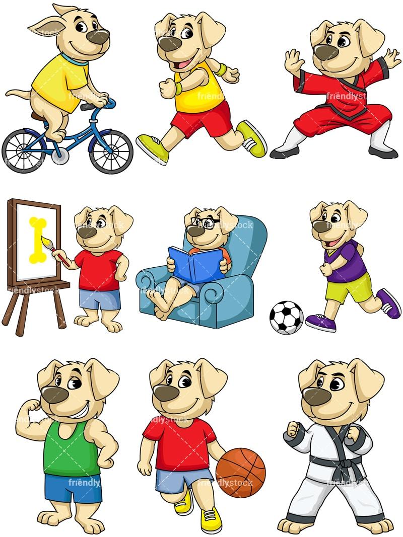 Cute Dog Character Vector Cartoon Clipart - FriendlyStock