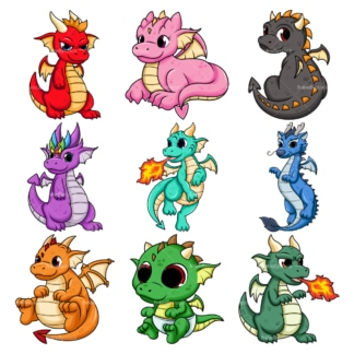 Cute dragons. PNG - JPG and vector EPS file formats (infinitely scalable). Image isolated on transparent background.