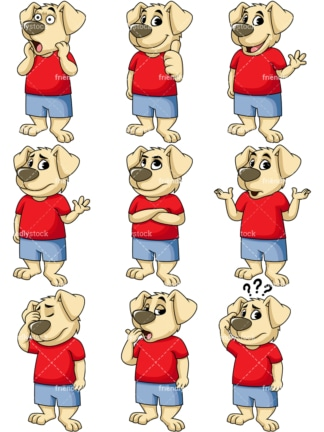 Dog mascot emotions. PNG - JPG and vector EPS file formats (infinitely scalable). Image isolated on transparent background.