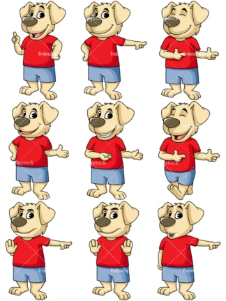 Dog cartoon character character pointing. PNG - JPG and vector EPS file formats (infinitely scalable). Image isolated on transparent background.