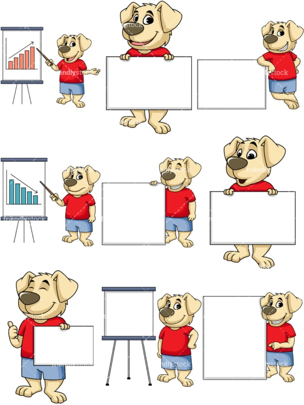 Dog cartoon character presentation. PNG - JPG and vector EPS file formats (infinitely scalable). Image isolated on transparent background.