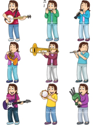 Girl playing musical instruments. PNG - JPG and vector EPS file formats (infinitely scalable). Images isolated on transparent background.