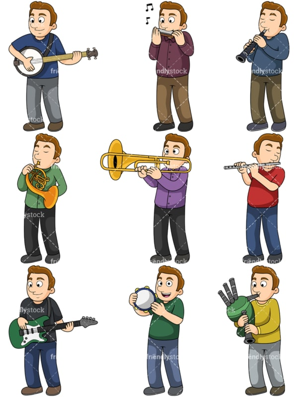 Guy playing musical instruments. PNG - JPG and vector EPS file formats (infinitely scalable). Images isolated on transparent background.