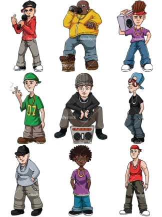 Hip hop dudes. PNG - JPG and vector EPS file formats (infinitely scalable). Image isolated on transparent background.