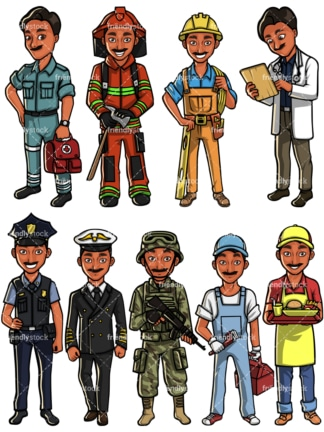 Indian man professions. PNG - JPG and vector EPS file formats (infinitely scalable). Images isolated on transparent background.