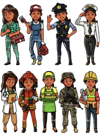 Indian woman professions. PNG - JPG and vector EPS file formats (infinitely scalable). Images isolated on transparent background.