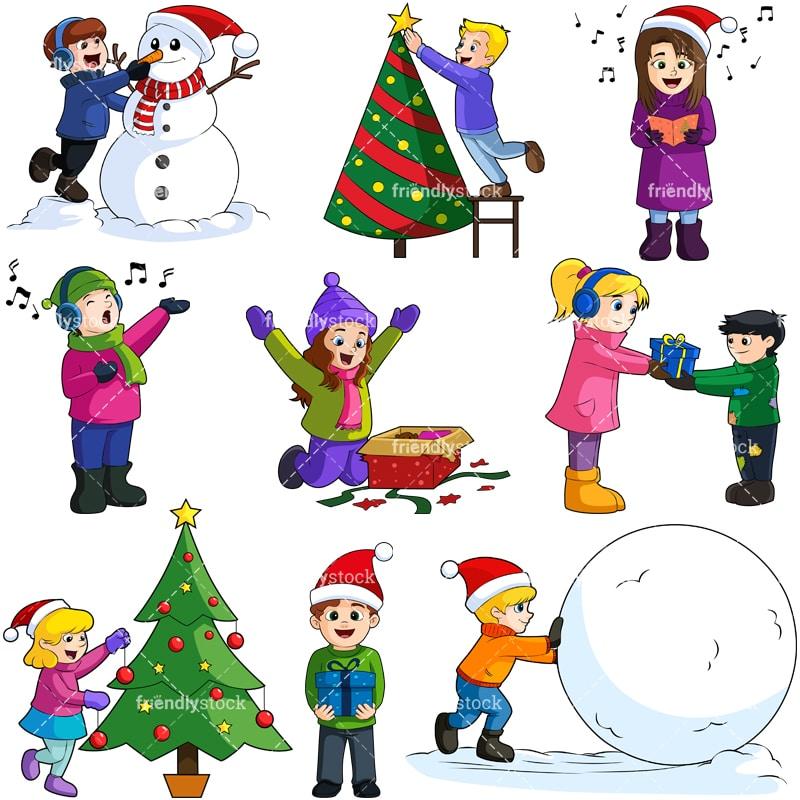 Kids At Christmas Cartoon Vector Clipart - FriendlyStock