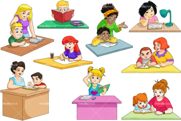 Kids doing homework. PNG - JPG and vector EPS file formats (infinitely scalable). Image isolated on transparent background.